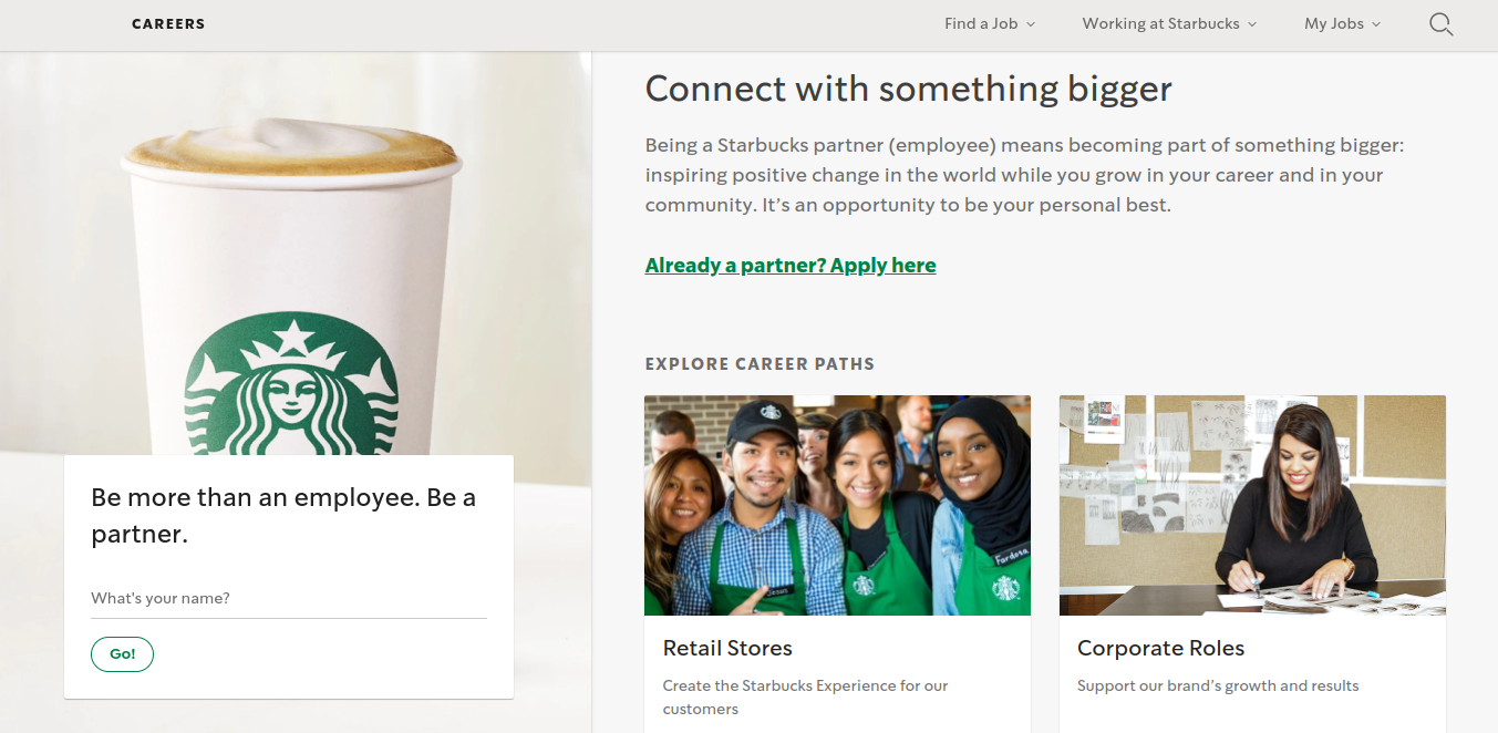 Page carrière Starbucks