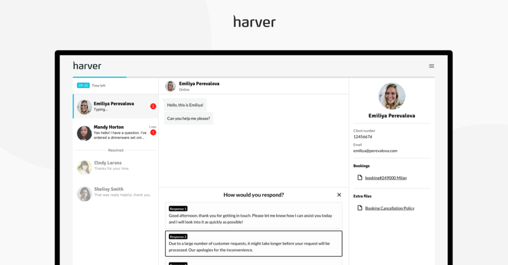 Module de simulation de chat en direct sur la plateforme Harver
